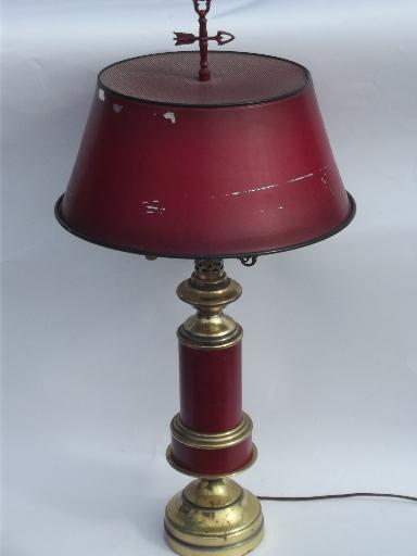 Vintage Barn Red Tole Metal Shade Brass Table Lamp Brass