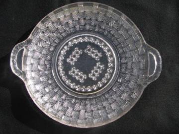 vintage basketweave pattern pressed glass serving plate w/ handles