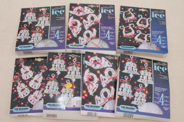 vintage bead ornament kit lot, Beadery Winter Ice kits to make beaded  Christmas tree ornaments - Vintage Bead Ornament Kit Lot, Beadery Winter Ice Kits To Make