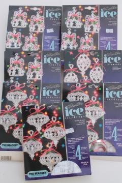 vintage bead ornament kit lot, Beadery Winter Ice kits to make beaded Christmas tree ornaments