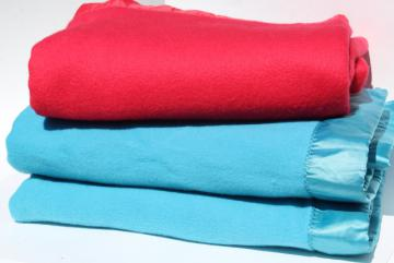 vintage bed blankets, cherry red & aqua blue thick soft plush blankets