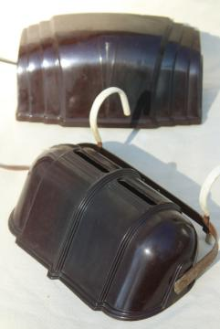 vintage bed headboard lamps, art deco reading lights w/ brown bakelite shades