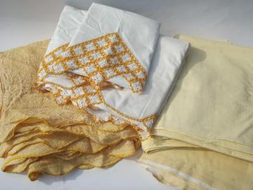 vintage bed linens, cotton pillowcases and sheets, matching gold bedspread
