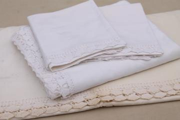 vintage bed linens w/ handmade crochet lace, cotton sheets & pillowcases w/ wedding bells edging