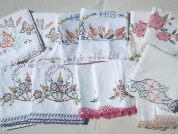 vintage bed linens lot, painted & embroidered cotton pillowcases w/ crochet