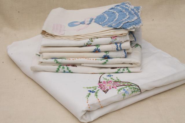 Vintage Bedding, Bed Linens Lot Embroidered Cotton Sheets U0026 Pillowcases W/  Crochet