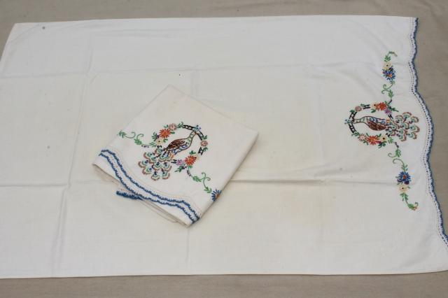 vintage bedding, bed linens lot embroidered cotton sheets & pillowcases w/ crochet