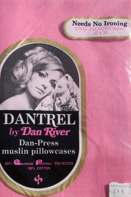 vintage bedding lot, candy pink cotton blend fabric, new in package double bed sheets & pillowcases