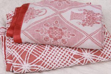 vintage bedding lot, cotton chenille bedspread & flower basket print bed blanket