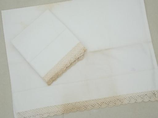 vintage bedding lot, cotton pillowcases w/ lace, whitework embroidery