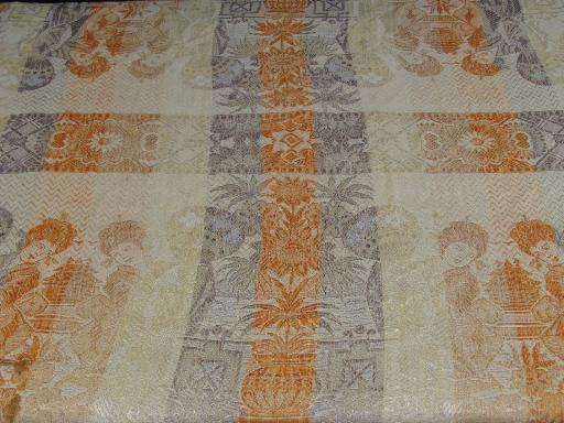 vintage bedspreads to layer, fringed rayon coverlets w/ geishas, brocade