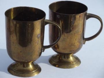 vintage beer or cider mugs, heavy solid brass tankards, tavern cups
