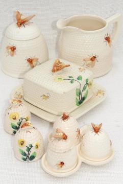 vintage beeware w/ ceramic bees, bee skep jam jar pot, comb honey box or butter dish, milk jug pitcher