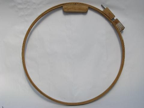 vintage bentwood lap quilting frame hoop, old needlework stretcher