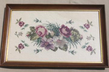 vintage berlin wool work floral, large needlepoint picture roses bouquet on ecru