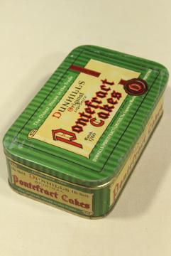vintage biscuit tin, Dunhills England Pontefract Cakes liquorice sweets
