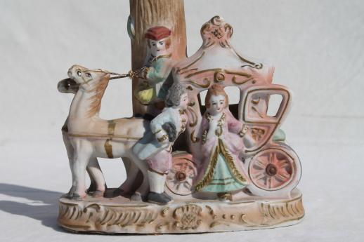 vintage bisque china boudoir lamp, french fairy tale Cinderella coach figurine lamp