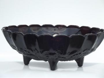 vintage black amethyst glass, Indiana glass garland pattern fruit bowl