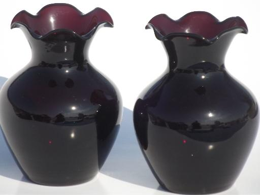 Vintage Black Amethyst Glass Vases Pair Of Small Vases For Violets