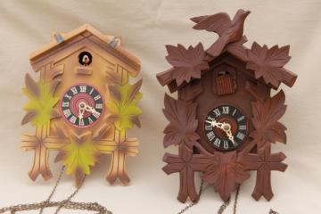 vintage black forest style cuckoo clocks parts clock lot carved wood germany