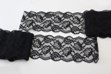 vintage black lace flounce or wide edging, 1950s sewing trim for lingerie etc.