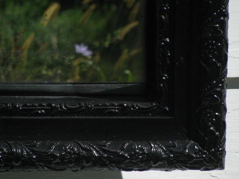 vintage black lacquer mirror shadowbox shelf, ornate antique Victorian frame