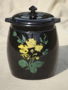 vintage black milk glass cookie jar, ebony black opaque glass w/ painted flowers