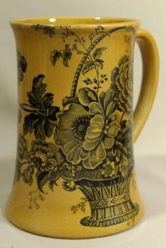 vintage black transferware toile floral Royal Crownford ironstone, large stein