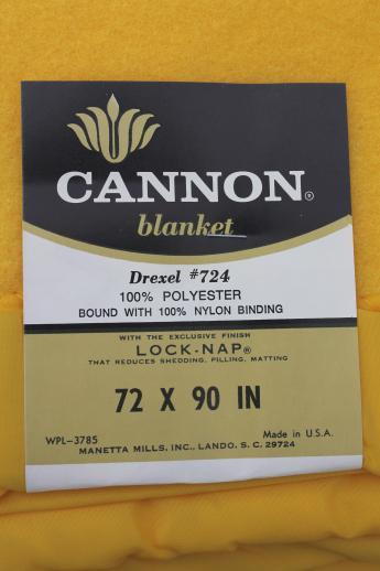 vintage blanket in sunshine yellow cannon drexel bed blanket w original label