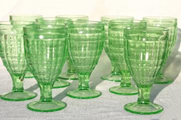 vintage block optic glass water goblets or wine glasses, green depression uranium glass