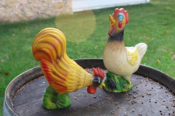 vintage blow mold plastic chickens, hen & rooster lawn ornaments yard art decor