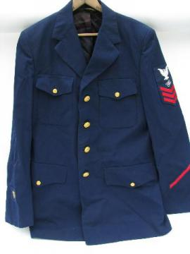 vintage blue US Naval uniform jacket / coat, buttons / patches