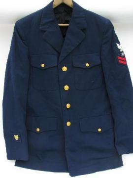 vintage blue US Navy uniform jacket/coat Electronics Tech patch