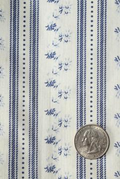vintage blue & white print floral striped cotton ticking pillow fabric w/ original label