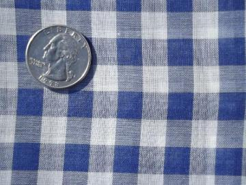 vintage blue and white checked gingham, sheer crisp pure cotton fabric