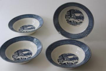 vintage blue and white china Currier & Ives cereal bowls, old schoolhouse winter scene