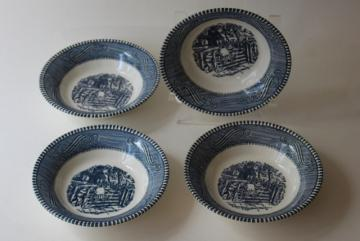 vintage blue and white china Currier & Ives fruit or dessert bowls, swinging on the gate