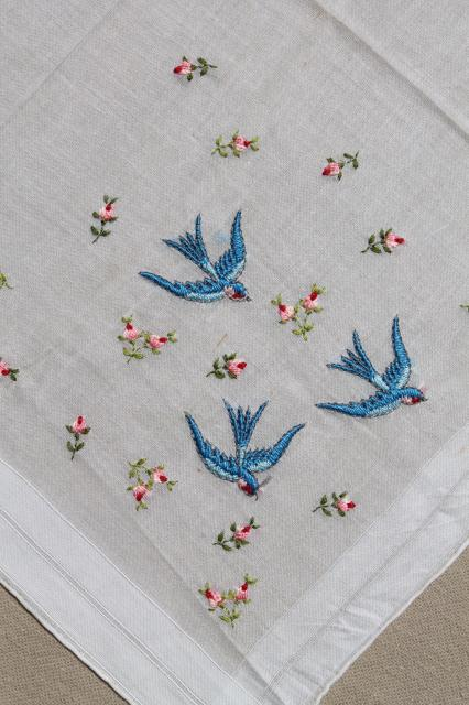 vintage blue bird hanky, bluebirds of happiness wedding handkerchief for a bride