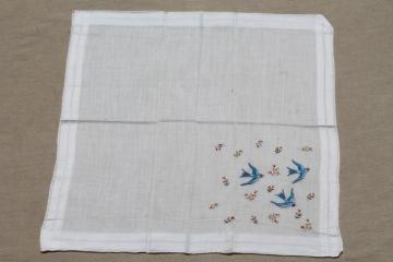 vintage blue bird hanky, bluebirds of happiness wedding handkerchief for a bride