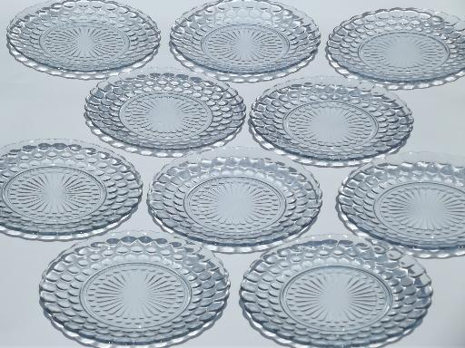 Vintage Blue Bubble Pattern Dinner Plates Anchor Hocking