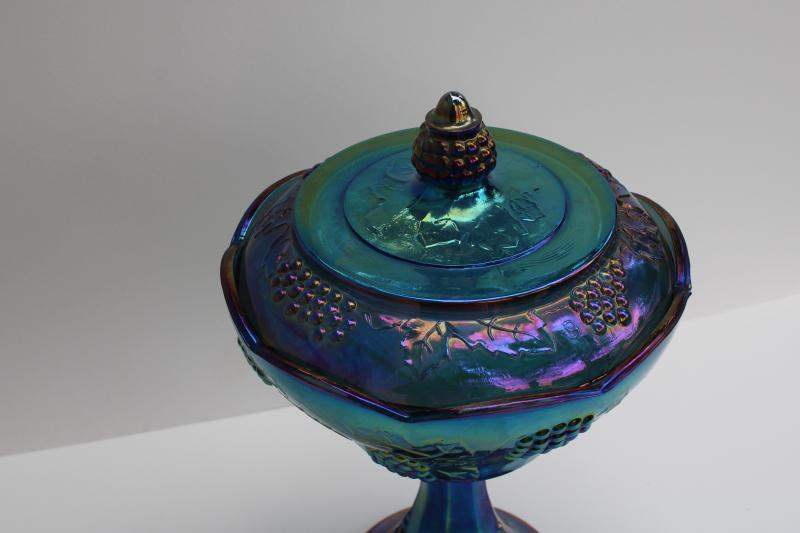 vintage blue carnival glass compote or candy dish, harvest grapes Indiana glass