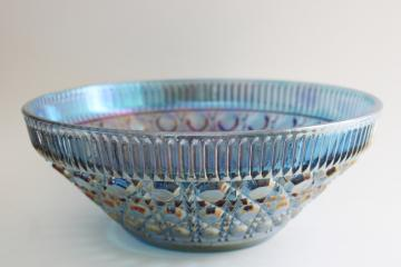 vintage blue carnival iridescent glass bowl, Federal Windsor pattern cane or button