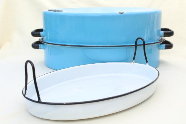 vintage blue enamelware roasting pan, big old turkey roaster w/ enamel tray insert