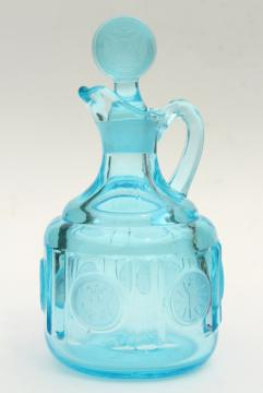 vintage blue glass Fostoria coin glass cruet bottle, pitcher & stopper