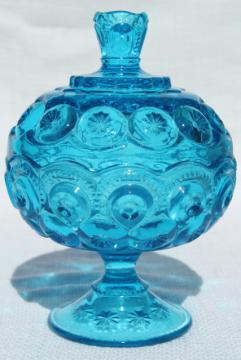 vintage blue glass candy dish compote, moon and stars pattern LE Smith glass