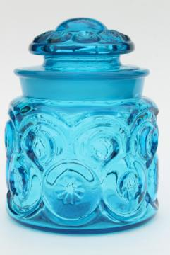 vintage blue glass canister jar, moon and stars pattern pressed glass