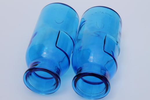 vintage blue glass canister jars, apothecary jar type Wheaton bottles