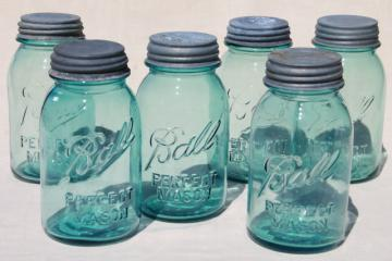 vintage blue glass canning jars w/ zinc lids, Ball Perfect Mason jars