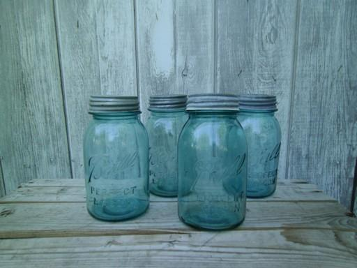 vintage blue glass canning jars w/ zinc lids, Ball Perfect Mason jars