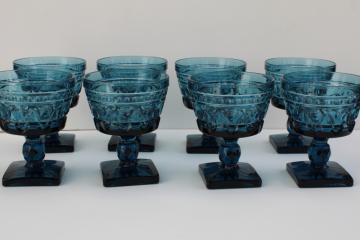 vintage blue glass champagne glasses, chunky pressed glass goblets Colony Park Lane pattern